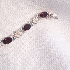 Silver 925 and Red Stone Bracelet